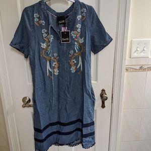 Nanette denim bird embroidered dress